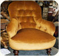 Iron back chair with deep buttoned back and sides. Gold velvet upholstery, Hessian foundation, stitched fibre and calico layers.  On these types of chairs, each layer is stitched to the iron frame as no tacks can be used on the iron structure.
