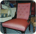 Edwardian Ladies chair with Deep buttoned back. Fully repaired and restored. Frame polished. Pink Linwood fabric upholstery with a wide trim.